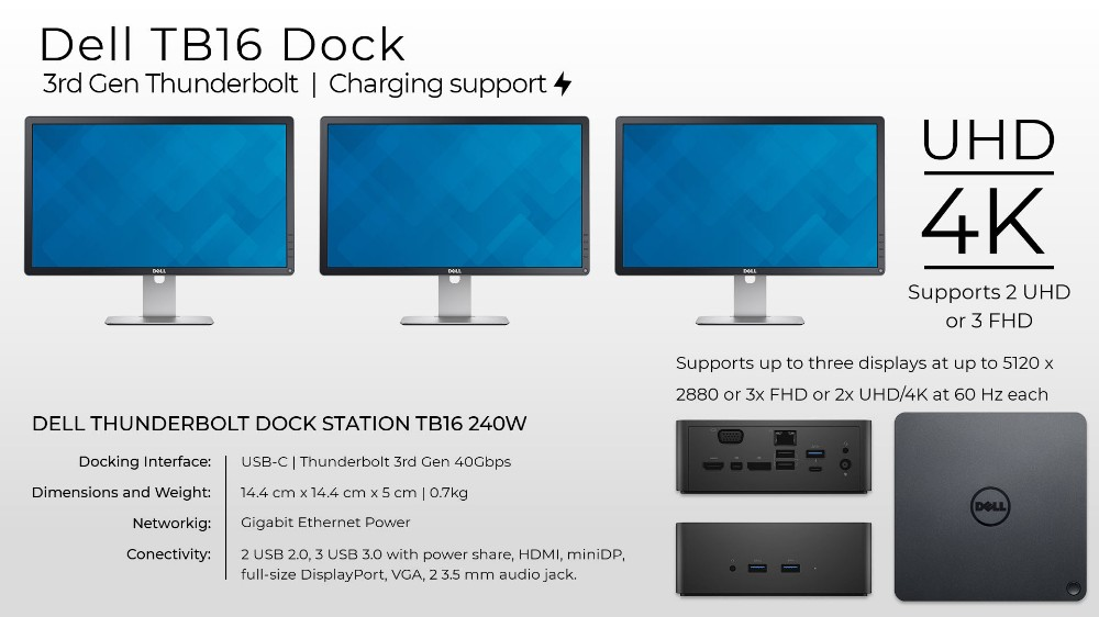Dell TB16 Thunderbolt Dock, Dell Dock WD15, Dell D3100,Dock Dell Ultra HD –  USB 3 0    New Seal