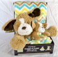 Little Miracle Adorable Snuggly & Cuddly 3 Pieces Gift Set with a Plush Dog Infant Baby