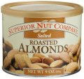 Superior Nut Salted Roasted Almonds, 9-Ounce Canisters (Pack of 6)