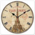 "iCasso 12"" Vintage France Paris Eiffel Tower Non-Ticking Silent Wood Wall Clock Wooden Wall Art Decor"
