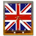 3dRose dc-62560-1 Union Jack Old British Naval Flag Desk Clock, 6 by 6-Inch