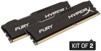 Kingston HyperX Fury Black (HX316C10FBK2/8) - DDR3 - 8GB (2x4GB) - Bus 1600Mhz - PC3 12800 kit CL10 Dimm