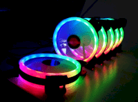 Combo 5 fan Led RGB Coolman Sunshile Dual ring