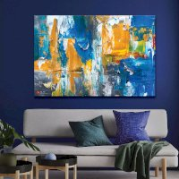 Tranh Canvas Blue And Yellow Abstract Alila