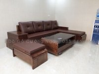 Bộ bàn ghế sofa góc L gỗ Sồi Nga kèm nệm da -  2m8x1m9