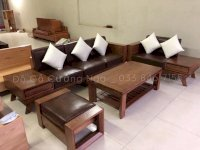 Bộ bàn ghế sofa gỗ Sồi Nga hiện đại kèm nệm da -  2m8x1m9