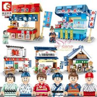 Lắp ráp 601065-601068 Set 4 Minishop Japan Sushi Takoyaki Shaved Ice Ramen Shop