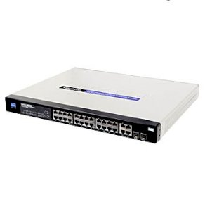 Linksys SRW224G4P 24-port 10/100M + 2-port shared Gigabit combo + 2-port Gigabit Rackmount Managed Switch with WebView and PoE