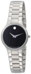 Movado Women's 0606383 Serio Stainless-Steel Black Round Dial Watch