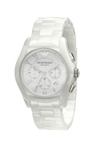 Đồng hồ Emporio Armani Watch, Men's Chronograph White Ceramic Bracelet AR1403