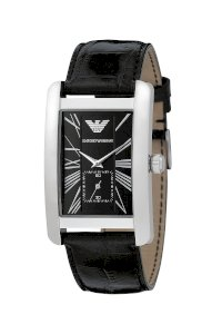Đồng hồ Emporio Armani Watch, Men's Black Leather Strap AR0143