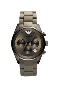 Đồng hồ Emporio Armani Watch, Men's Automatic Chronograph Gray Silicone Wrapped Stainless Steel Bracelet AR5950