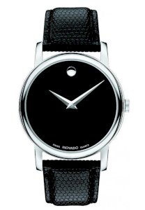 Đồng hồ Movado Museum Black Dial Black Leather Strap Mens Watch 2100002