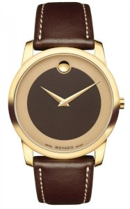MOVADO Bold Brown Dial Leather Men's Watch 0606880, 40mm