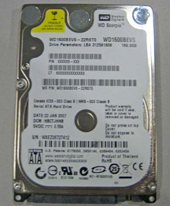 WESTERN DIGITAL 160gb - 5400rpm - 8mb cache  ATA - for Noterbook