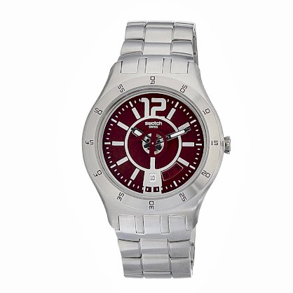 Swatch Men's YTS405G Quartz Date Red Dial Stainless Steel Watch
