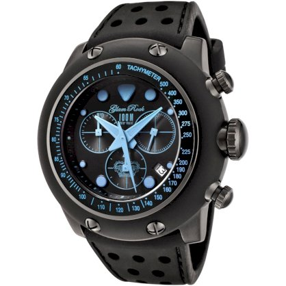 Glam Rock Men's GR90106 Racetrack Collection Chronograph Black Silicone Watch