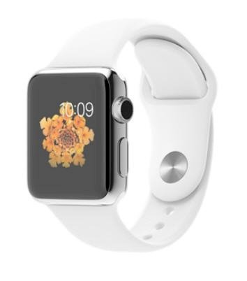 Đồng hồ thông minh Apple Watch 38mm Stainless Steel Case with White Sport Band