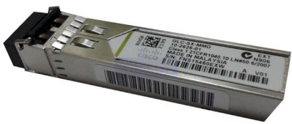 Cisco GLC-SX-MMD 1000BASE-SX SFP transceiver module for MMF, 850-nm wavelength, extended operating temperature range and DOM support, dual LC/PC connector