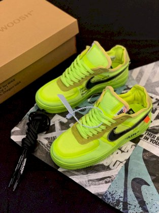 Giày Nike air force 1 off white volt - xanh neon
