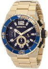 Invicta Men's 1344 Pro Diver Chronograph Blue Dial 18K Gold Ion-Plated Stainless Steel Watch