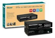 MICRONET SP608P 8-Port 10/100 Mbps Fast Ethernet Switch, With 4Port POE Full power 15.4W,Auto-Uplink, External Power