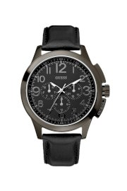 Đồng hồ Guess Watch, Men's Black Leather Strap 46mm U10628G1