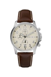 Đồng hồ Guess Watch, Men's Chronograph Brown Leather Strap 40mm U11638G2