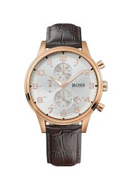 Đồng hồ Hugo Boss Watch, Men's Chronograph Brown Croc Embossed Leather Strap 1512519