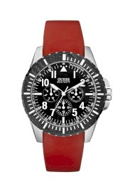 Đồng hồ Guess Watch, Men's Chronograph Red Silicone Strap 45mm U90036G1