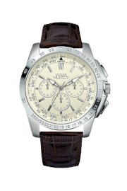 Đồng hồ Guess Watch, Men's Chronograph Brown Croc Embossed Leather Strap 47mm U13570G2