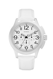 Đồng hồ Guess Watch, Men's Chronograph White Leather Strap 46mm U11658G1