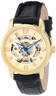 Stuhrling Original Women's 107EL.113531 Classique Delphi Omega Goldtone Automatic Skeleton Watch Gift Set
