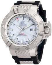 Invicta Men's 0737 Subaqua Noma III GMT White Mother-Of-Pearl Black Rubber Watch