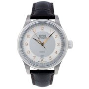 Oris Men's 73375944061LS Leather Synthetic with Silver Dial Watch