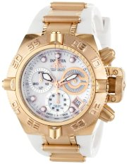 Invicta Women's 0537 Subaqua Noma IV Collection Chronograph 18k Rose Gold-Plated Stainless Steel and White Polyurethane Watch