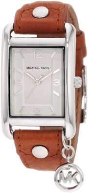 Michael Kors - Quartz Leather Rectangle Charm with Silver Dial Women's Watch - MK2165