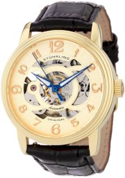 Stuhrling Original Men's 107EM.333531 Classic Delphi Omega Goldtone Automatic Skeleton Watch Gift Set