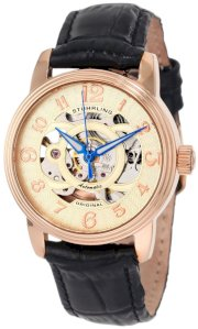 Stuhrling Original Women's 107EL.114531 Classique Delphi Omega Rosetone Automatic Skeleton Black Strap Watch Gift Set