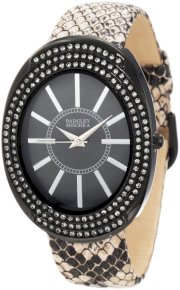 Badgley Mischka Women's BA/1195GMTP Swarovski Crystal Accented Large Black Ion-Plated Oval Case Tan Python Print Leather Strap Watch