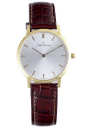 Claude Bernard Men's 20061 37J AID Classic Gents - Slim Line Gold PVD Silver Dial Brown Leather Watch