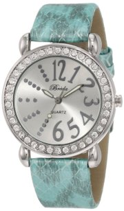 "Breda Women's 5151_blue ""Paige"" Rhinestone Bezel Python Leather Watch Watch"
