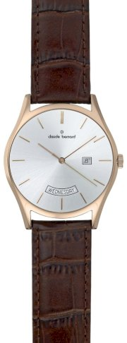 Claude Bernard Men's 84004 37R AIR Classic Gents Rose-gold PVD Silver Dial Day-date Leather Watch