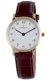 Claude Bernard Women's 20060 37J BB Classic Ladies - Slim Line Gold PVD White Dial Brown Leather Watch