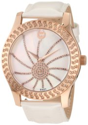 Brillier Women's 03-32421-07 Kalypso Rose-Tone White Leather Watch