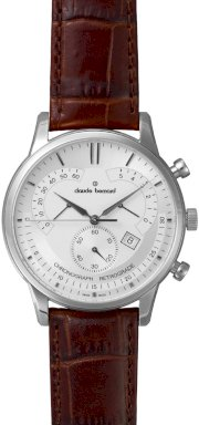 Đồng hồ đeo tay Claude Bernard Men's 01506 3 AIN Classic Silver Dial Chronograph Leather Watch