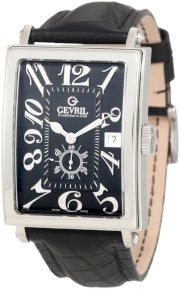Gevril Men's 5042A Avenue of America Swiss Handcrafted Sub-Second Black Leather Watch