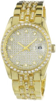 Geneve Elegante Men's GEN-5052A - Gold Classic Rhinestone Encrusted Gold Watch