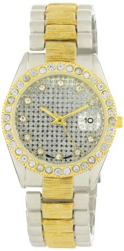 Geneve Elegante Men's GEN-5068-TT Classic Rhinestone Encrusted Silver and Gold Watch