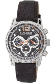 Haurex Italy Men's 1A367UMO Talento Dual Time Brown Dial Black Leather Sport Watch